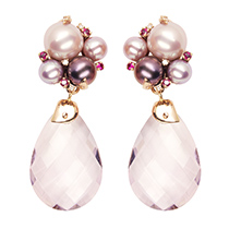 Amethyst Pearl Bouquet Earring