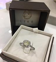 Fancy color diamond engagement ring